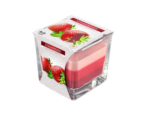 Снимка на Свещ в чаша 3 цвята ягода 80х80х81 SNK80-73