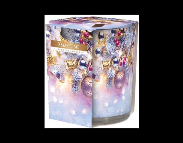 Снимка на Свещ в чаша с фолио Коледа 78х72 мм
