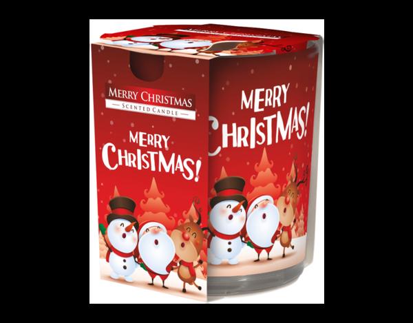 Снимка на Свещ в чаша с фолио Весела Коледа 78х72 мм