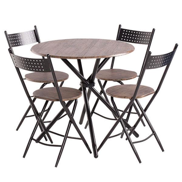 Снимка на Комплект маса с 4 стола 20016 Орех