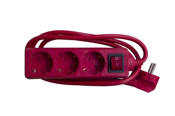 Снимка на Разклонител 103 ВК /1.5м.+ключ/3G 1.5 червен