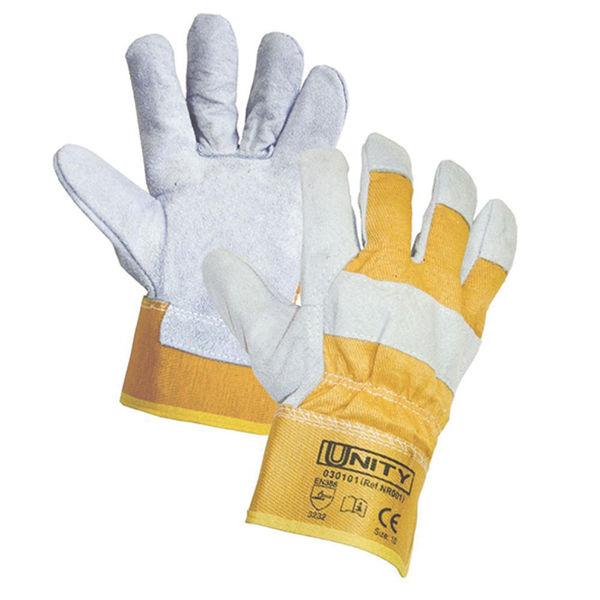 Снимка на Ръкавици от цепена телешка кожа и плат DINGO - размер 11