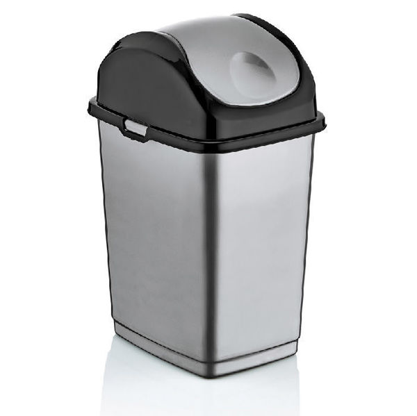 Снимка на Кош с люлеещ капак Dunya сиво/черно - 10л.