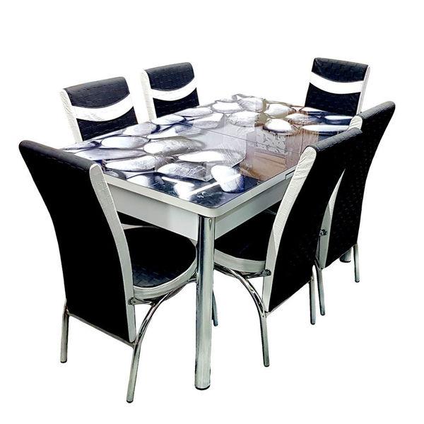 Снимка на Комплект маса със 6 стола - 3D принт - черно/бяло - код 125