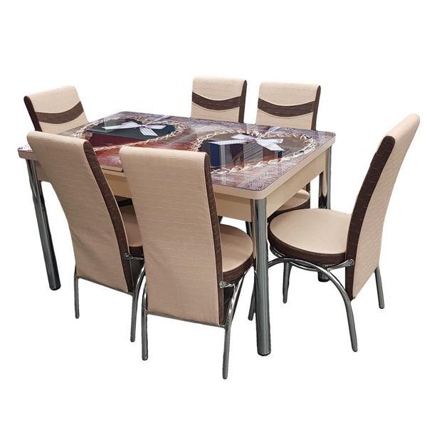 Снимка на Комплект маса със 6 стола - 3D принт - бежово - код 215