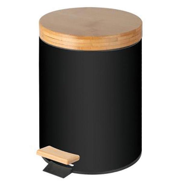 Снимка на Кош с педал и бамбуков капак 5л. - черен 20.5х27.5см