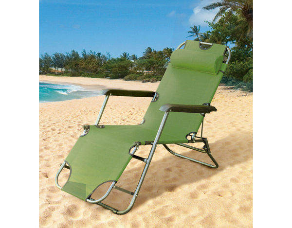 Снимка на Сгъваем стол тип шезлонг 153х60х80cm - Тъмно зелен