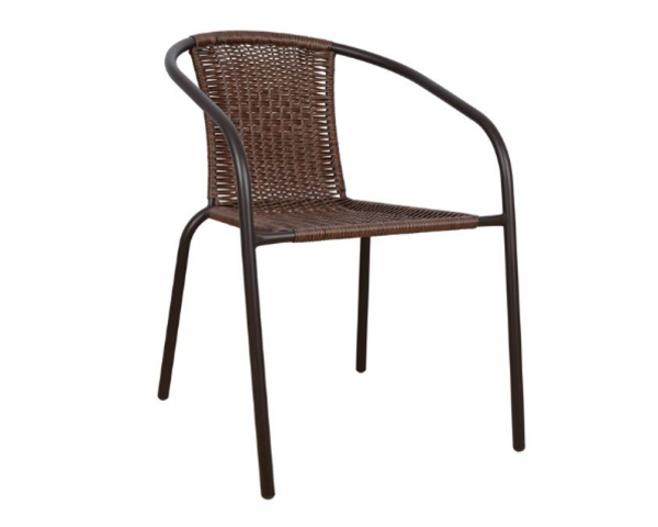 Снимка на Стол градински PVC ратан тъмно кафяв