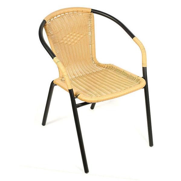 Снимка на Стол градински PVC ратан - Бежов