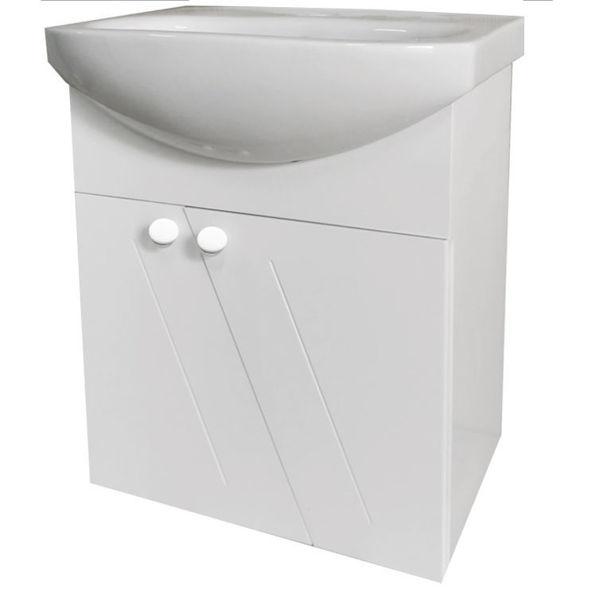 Снимка на Шкаф конзолен за баня ВЕГА 50 см ПВЦ с мивка Arteco 50см