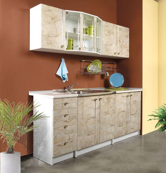 Снимка на Кухня модулна ALINA - 2m, ПДЧ, корпус бял, фронт тъмен мрамор, с плот